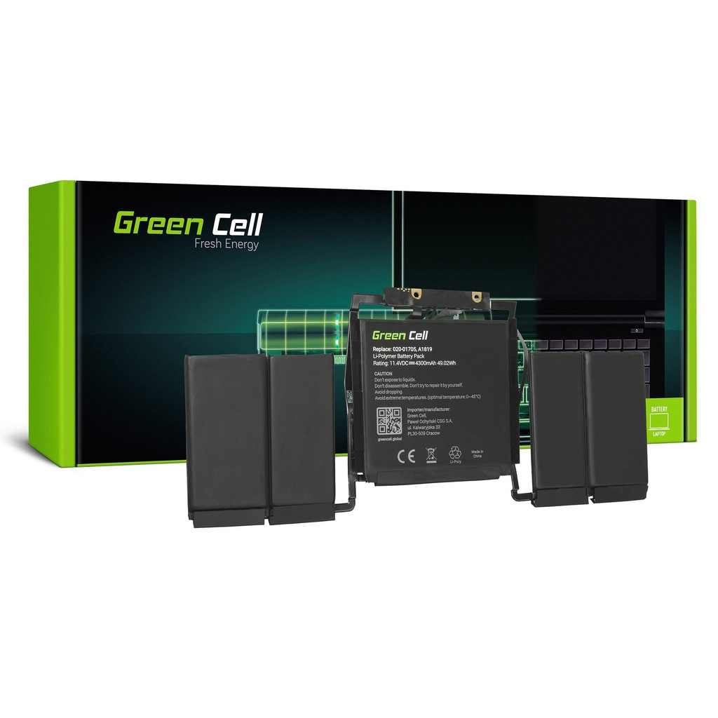 Baterija Green Cell za Apple MacBook Pro 13 A1706 Touch Bar (kraj 2016., sredina 2017.) / 11,4V 4300mAh