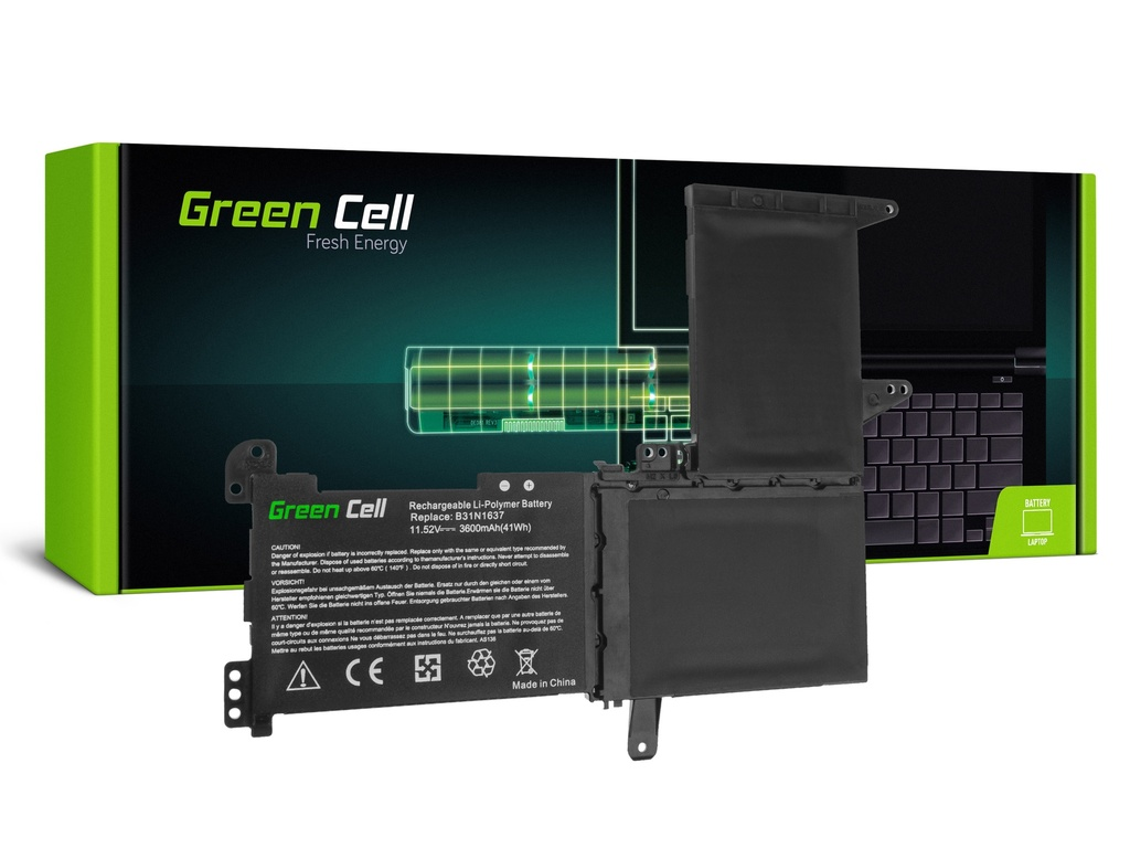 Baterija Green Cell B31N1637 C31N1637 za Asus VivoBook S15 S510 S510U S510UA S510UN S510UQ 15 F510 F510U F510UA / 11,52V 3600mAh