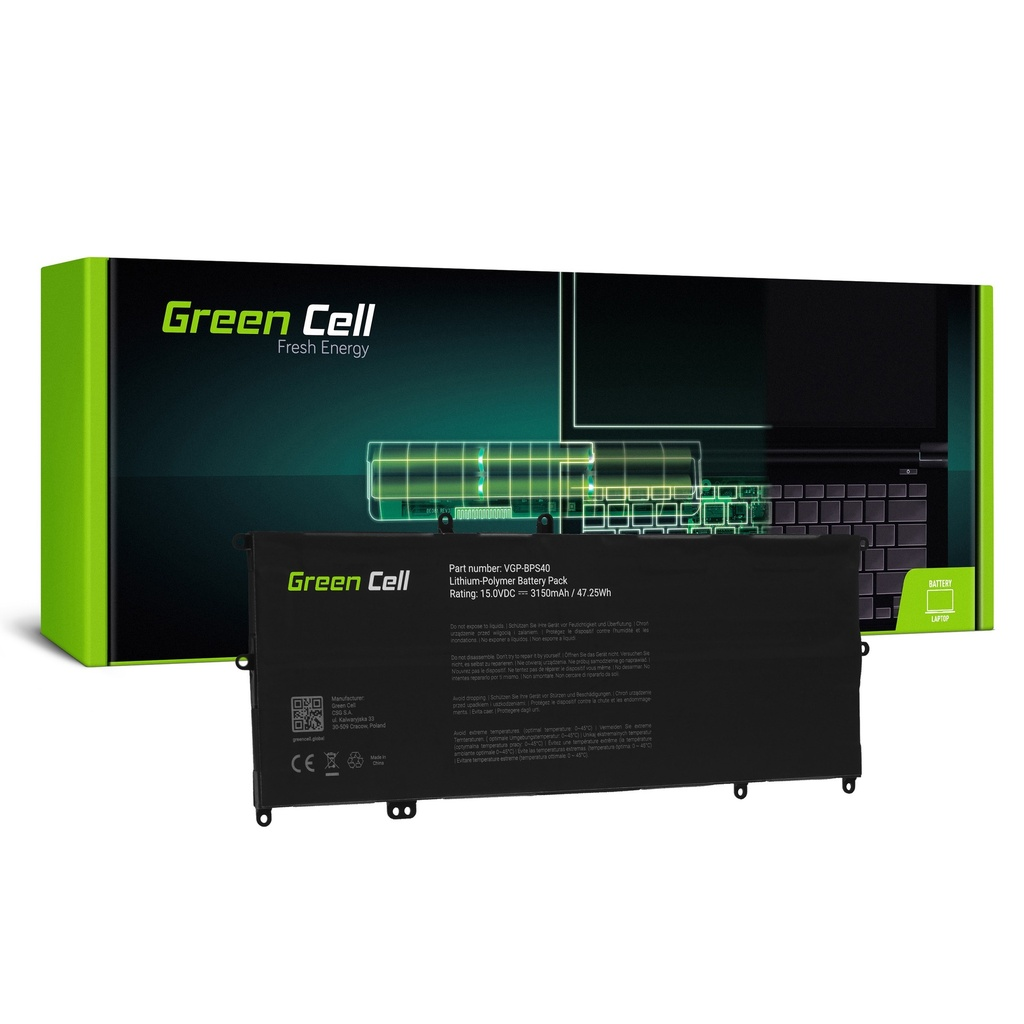 Baterija Green Cell VGP-BPS40 za Sony Vaio Fit Multi-Flip 14A SVF14N SVF14N2J2ES 15A SVF15N SVF15N190X SVF15N2S2ES SVF15N2Z2EB
