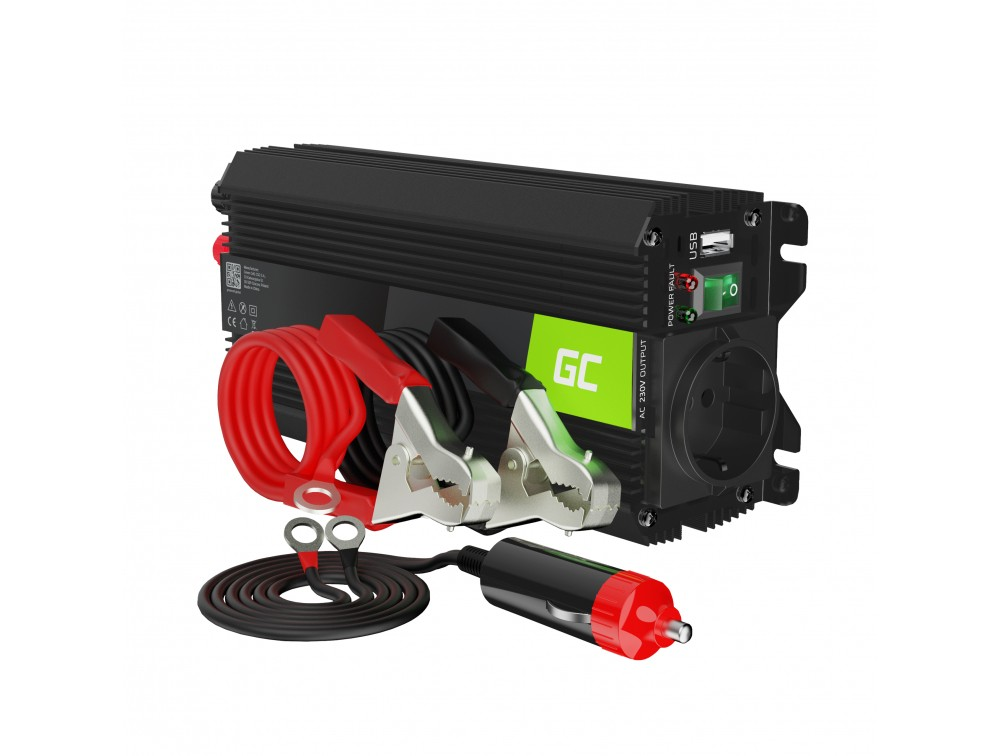 Pretvornik pretvornika moči Green Cell® 12V v 230V 500W / 1000W z USB