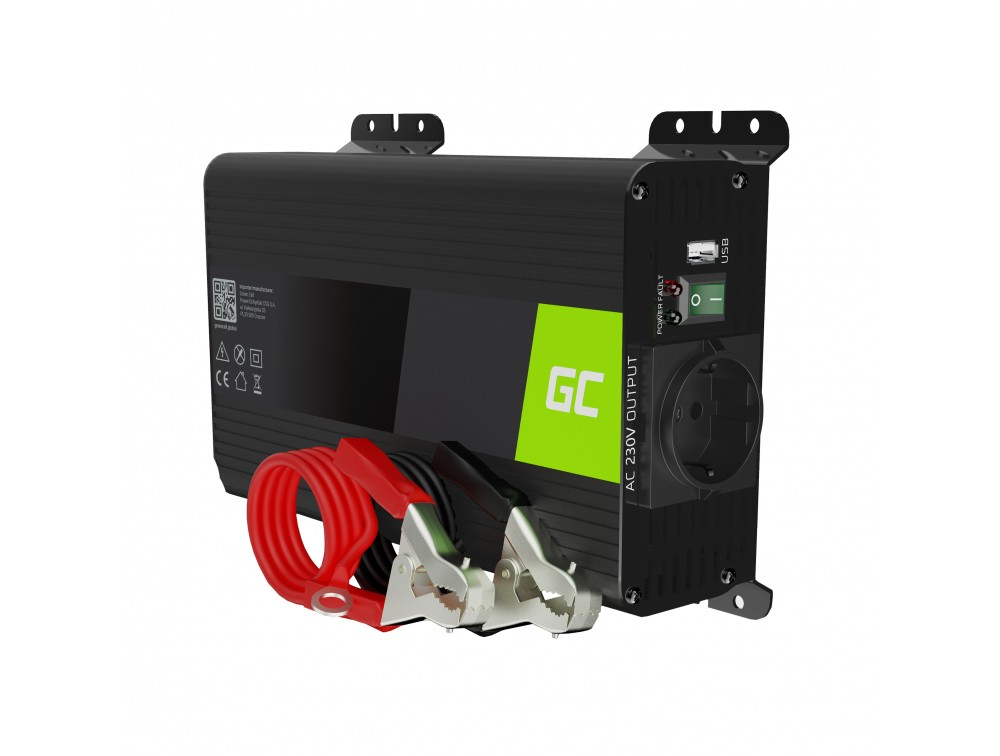 Pretvornik pretvornika moči Green Cell® 12V v 230V Čisti sinus 300W / 600W z USB