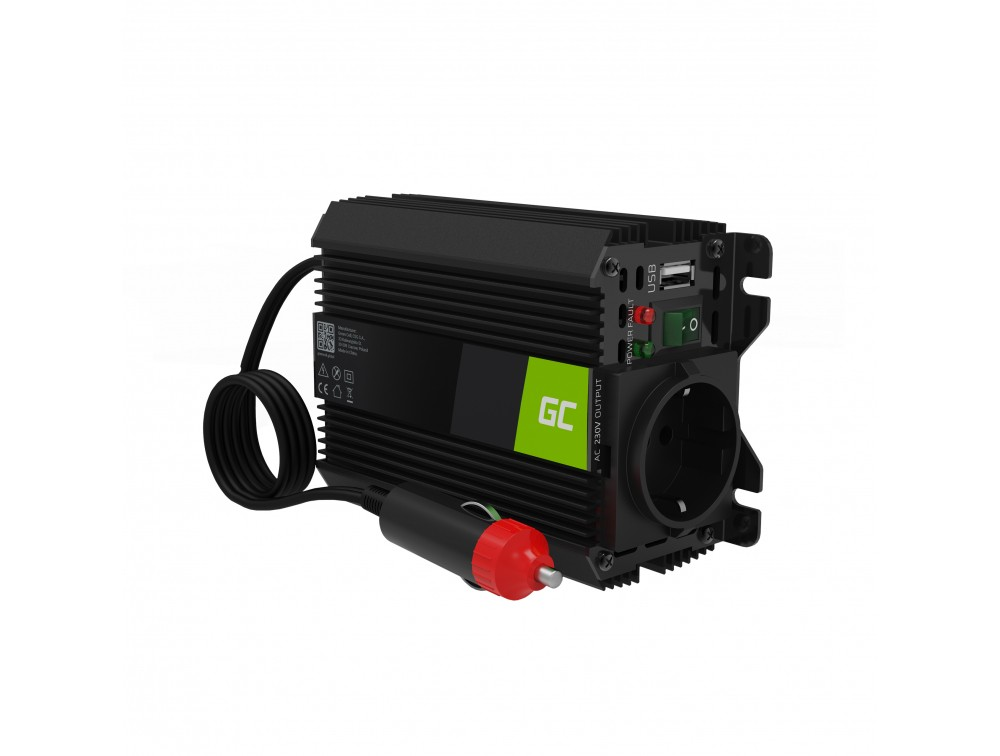 Green Cell® Car Power Inverter Converter 12V to 230V Modificated sine 150W/300W with USB