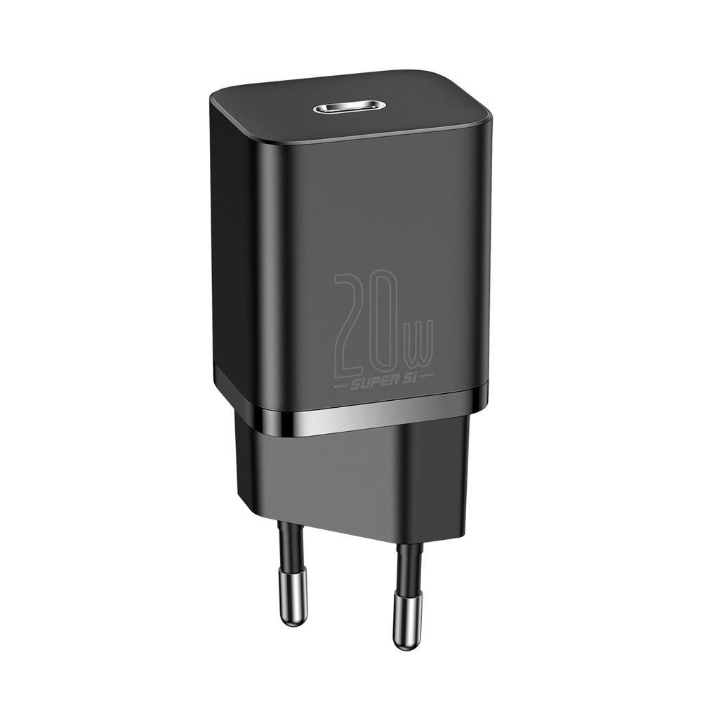Baseus Super Si 1C hitri stenski polnilnik USB Type C 20 W Napajanje črno