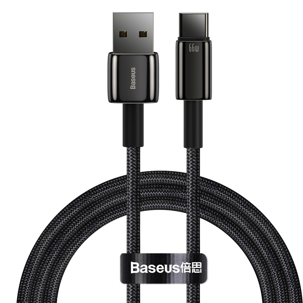 Baseus Tungsten USB - USB Type C cable 66 W (11 V / 6 A) Quick Charge AFC FCP SCP 1 m black