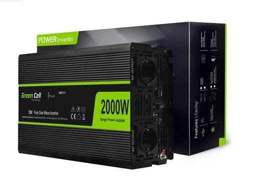 [GCL.INV11] Napetostni avtomobilski pretvornik Green Cell ® 12V do 230V, polni sinusni val 2000W / 4000W