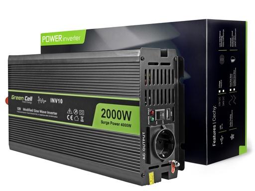 [GCL.INV10] Napetostni avtomobilski pretvornik Green Cell ® 12V do 220V, 2000W / 4000W
