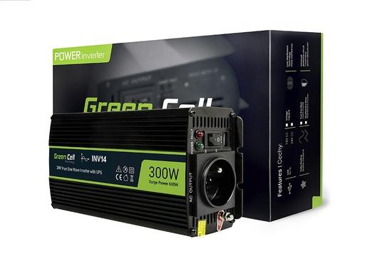 [GCL.INV14] Napetostni avtomobilski pretvornik Green Cell ® 24V do 230V, polno sinusni val 300W / 600W