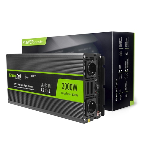 [GCL.INV15] Napetostni avtomobilski pretvornik Green Cell ® 12V do 230V, 3000W / 6000W, polni sinusni val