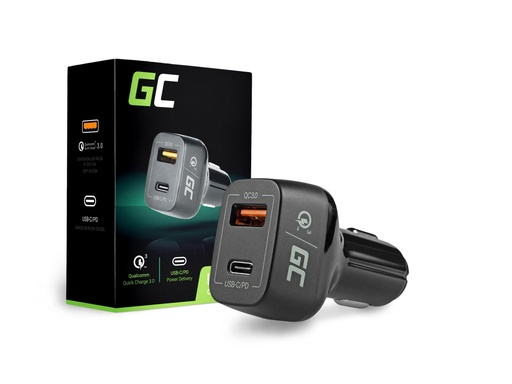 [GCL.CAD33] ZELENI CELIČNI avtomobilski polnilnik USB-C Power Delivery + USB Quick Charge 3.0