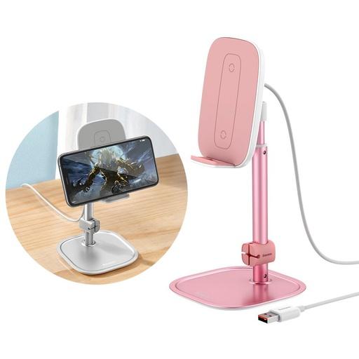 Baseus teleskopski namizni nosilec za telefon brezžični polnilnik Qi 15 W z USB kablom