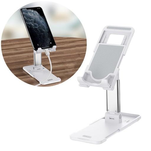[HRT.61783] Remax Telescopic Desktop Bracket phone tablet foldable holder white (RL-CH15 whie)