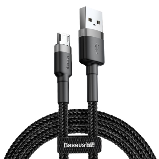 [HRT.46787] Baseus Cafule Cable Durable Nylon Braided Wire USB / micro USB QC3.0 2.4A 1M black-grey